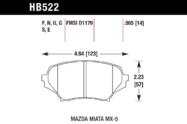 hawk brake pads tech spec diagram HB522