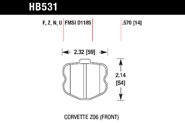 hawk brake pads tech spec diagram HB531