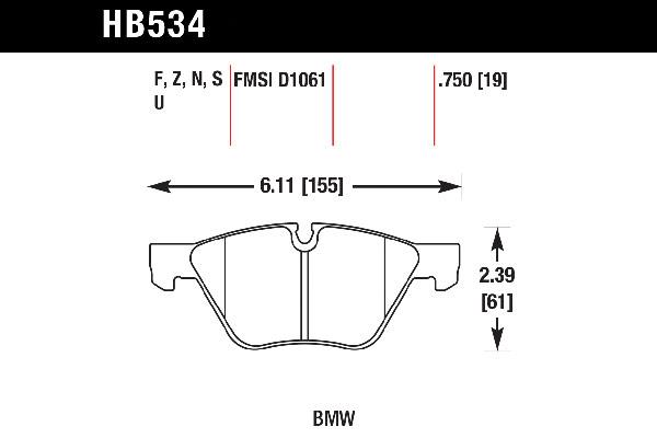 hawk brake pads tech spec diagram HB534