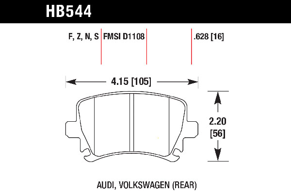 hawk brake pads tech spec diagram HB544