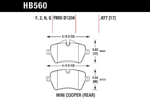 hawk brake pads tech spec diagram HB560