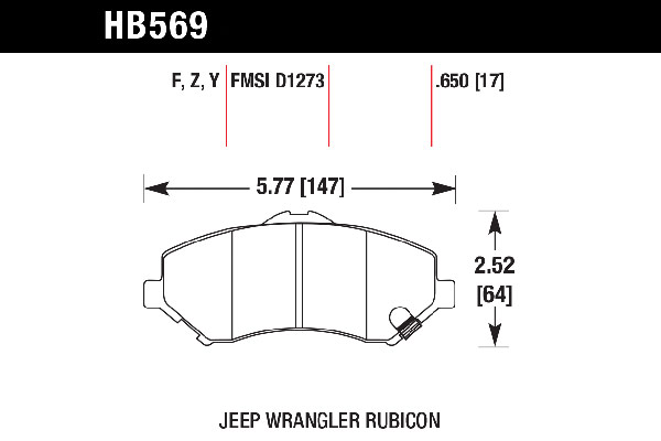hawk brake pads tech spec diagram HB569