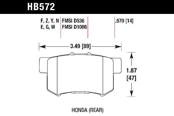 hawk brake pads tech spec diagram HB572