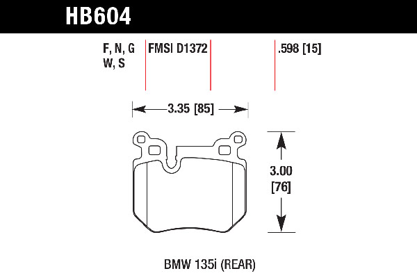 hawk brake pads tech spec diagram HB604