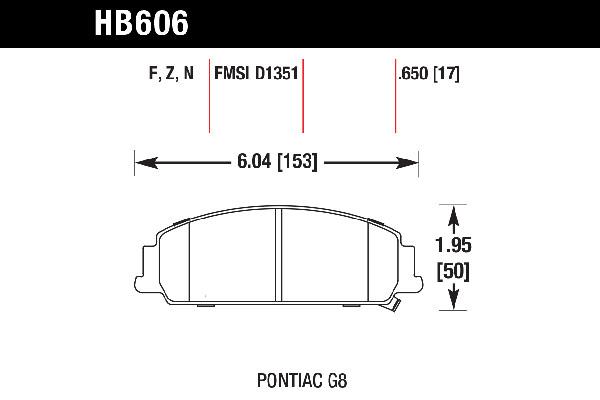 hawk brake pads tech spec diagram HB606