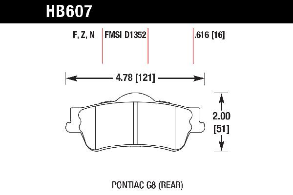 hawk brake pads tech spec diagram HB607