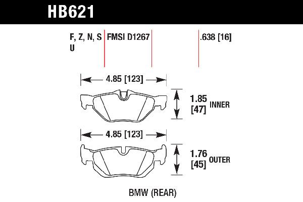 hawk brake pads tech spec diagram HB621