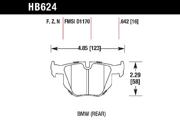 hawk brake pads tech spec diagram HB624