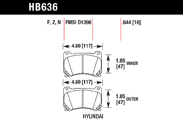 hawk brake pads tech spec diagram HB636