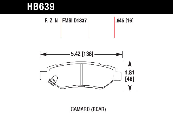 hawk brake pads tech spec diagram HB639
