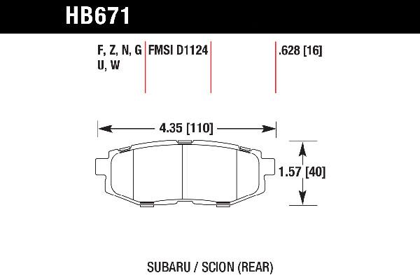 hawk brake pads tech spec diagram HB671