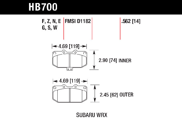 hawk brake pads tech spec diagram HB700