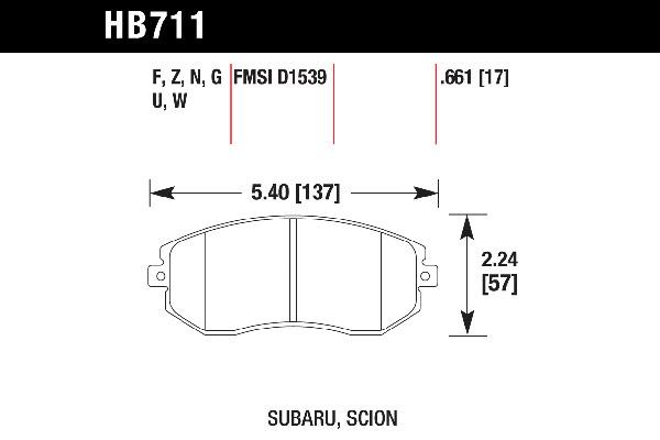 hawk brake pads tech spec diagram HB711