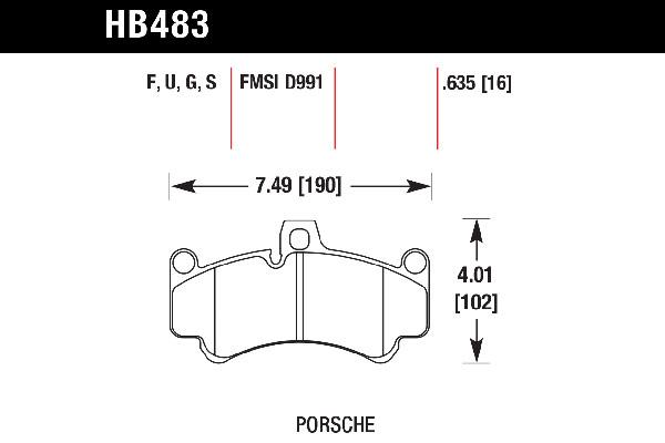 hawk brake pads tech spec diagram HB483