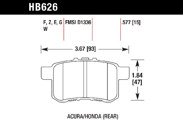 hawk brake pads tech spec diagram HB626