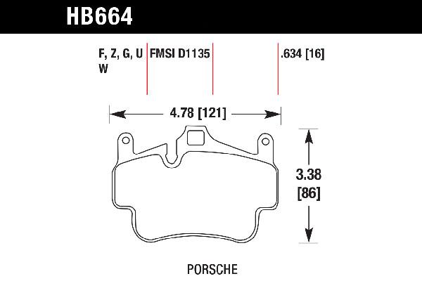 hawk brake pads tech spec diagram HB664