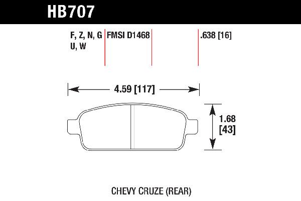 hawk brake pads tech spec diagram HB707