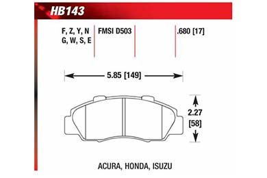 hawk brake pads diagrams HB143
