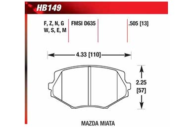 hawk brake pads diagrams HB149