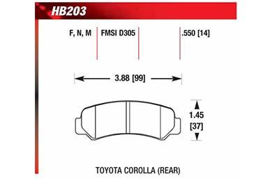 hawk brake pads diagrams HB203