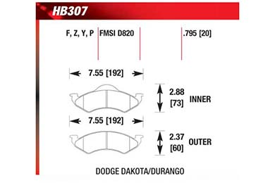 hawk brake pads diagrams HB307