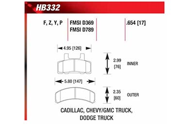 hawk brake pads diagrams HB332