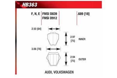 hawk brake pads diagrams HB363
