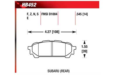 hawk brake pads diagrams HB452