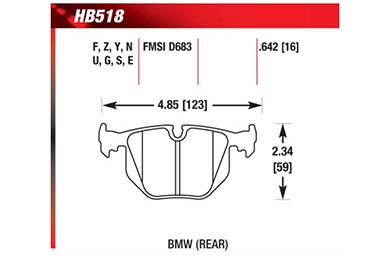 hawk brake pads diagrams HB518