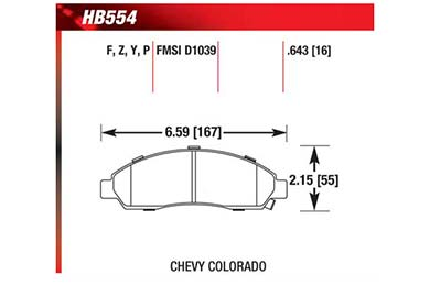 hawk brake pads diagrams HB554