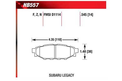 hawk brake pads diagrams HB557