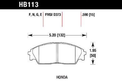 hawk brake pads tech spec diagram HB113