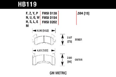 hawk brake pads tech spec diagram HB119