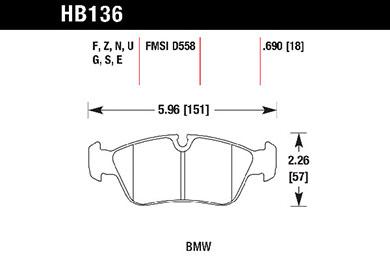 hawk brake pads tech spec diagram HB136