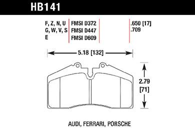 hawk brake pads tech spec diagram HB141