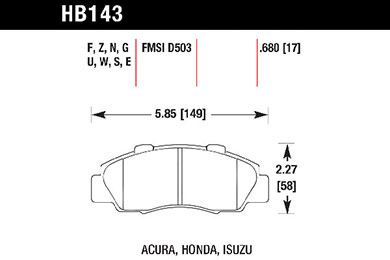 hawk brake pads tech spec diagram HB143