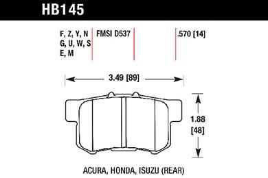 hawk brake pads tech spec diagram HB145