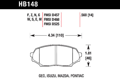 hawk brake pads tech spec diagram HB148