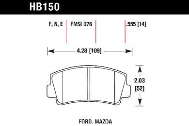 hawk brake pads tech spec diagram HB150