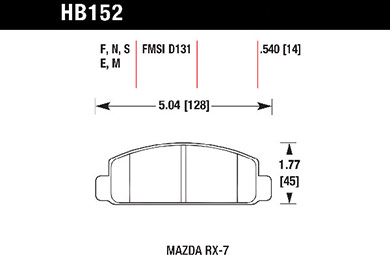 hawk brake pads tech spec diagram HB152