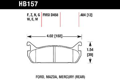 hawk brake pads tech spec diagram HB157