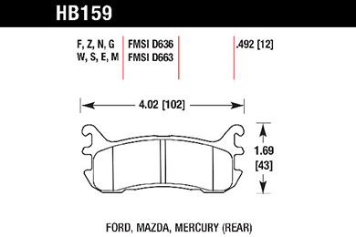 hawk brake pads tech spec diagram HB159
