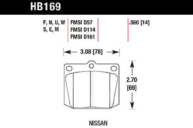 hawk brake pads tech spec diagram HB169