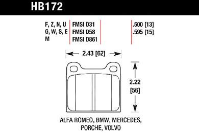 hawk brake pads tech spec diagram HB172