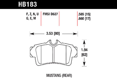 hawk brake pads tech spec diagram HB183