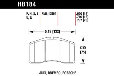 hawk brake pads tech spec diagram HB184