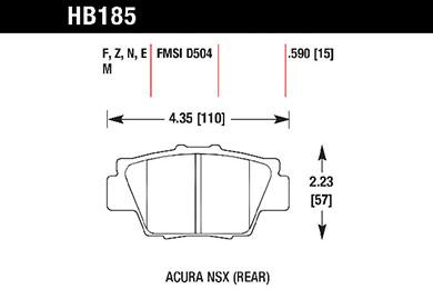 hawk brake pads tech spec diagram HB185