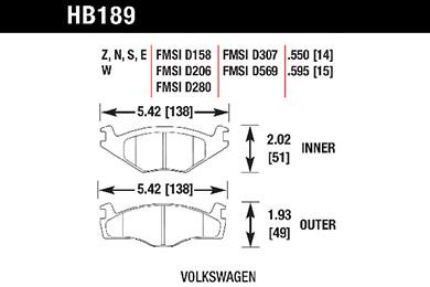 hawk brake pads tech spec diagram HB189