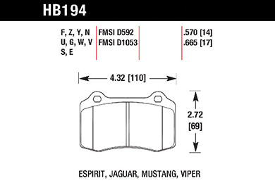 hawk brake pads tech spec diagram HB194