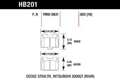 hawk brake pads tech spec diagram HB201